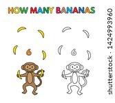 cartoon monkey counting bananas.... | Shutterstock . vector #1424993960