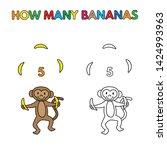 cartoon monkey counting bananas.... | Shutterstock . vector #1424993963