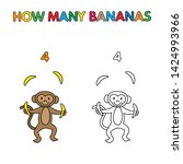 cartoon monkey counting bananas.... | Shutterstock . vector #1424993966