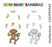 cartoon monkey counting bananas.... | Shutterstock . vector #1424993969