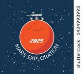 cartoon poster of mars planet... | Shutterstock . vector #1424993993