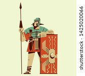 roman soldier holding a spear... | Shutterstock .eps vector #1425020066