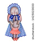 Stock photo watercolor illustration of cute rabbit hare bunny mother in blue dress and little hare baby hand 1425023033