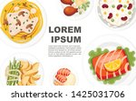 different dishes on the plates. ... | Shutterstock .eps vector #1425031706