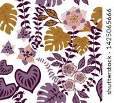 tropical floral seamless... | Shutterstock .eps vector #1425065666