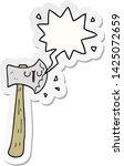 cartoon axe with speech bubble... | Shutterstock .eps vector #1425072659
