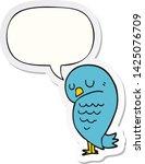 cartoon bird with speech bubble ... | Shutterstock .eps vector #1425076709