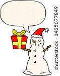 cartoon snowman with present... | Shutterstock .eps vector #1425077849