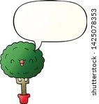 cartoon happy tree with speech... | Shutterstock .eps vector #1425078353
