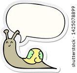 cute cartoon snail with speech... | Shutterstock .eps vector #1425078899