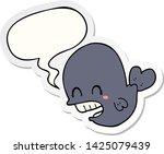 cartoon whale with speech... | Shutterstock .eps vector #1425079439