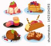 sweet cafe  dessert set  bakery ... | Shutterstock .eps vector #1425104393