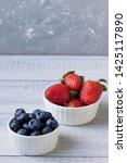 fresh berries  strawberries ... | Shutterstock . vector #1425117890