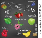 vector fruits on black...   Shutterstock .eps vector #142512568