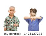 two boy with thumbs up and... | Shutterstock . vector #1425137273