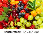 mix of fresh fruits and berries.... | Shutterstock . vector #142514650