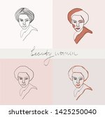 set of beauty woman portraits.  ... | Shutterstock .eps vector #1425250040