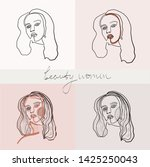 set of beauty woman portraits.  ... | Shutterstock .eps vector #1425250043