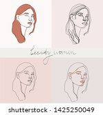 set of beauty woman portraits.  ... | Shutterstock .eps vector #1425250049