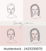 set of beauty woman portraits.  ... | Shutterstock .eps vector #1425250070
