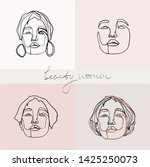 set of beauty woman portraits.  ... | Shutterstock .eps vector #1425250073