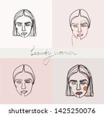 set of beauty woman portraits.  ... | Shutterstock .eps vector #1425250076