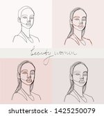 set of beauty woman portraits.  ... | Shutterstock .eps vector #1425250079