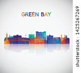 green bay skyline silhouette in ... | Shutterstock .eps vector #1425267269