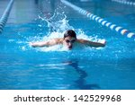 swimmer in waterpool swim one... | Shutterstock . vector #142529968