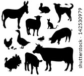 Stock vector farm animals on a white background vector silhouette 142530979
