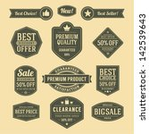 vector vintage sale label set... | Shutterstock .eps vector #142539643