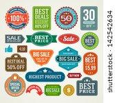 vector vintage sale label set... | Shutterstock .eps vector #142542634