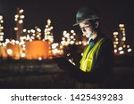 asian man engineer using... | Shutterstock . vector #1425439283