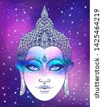 buddha face over ostarry cosmic ... | Shutterstock .eps vector #1425464219