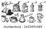 hand drawn coffee set. sketch.... | Shutterstock .eps vector #1425491489