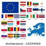 detailed flags and map of... | Shutterstock .eps vector #14254960