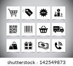 set of simple black shopping...   Shutterstock .eps vector #142549873
