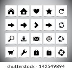 set of black icons for web.... | Shutterstock .eps vector #142549894
