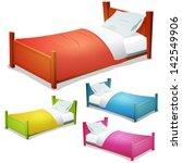 cartoon bed set  illustration... | Shutterstock .eps vector #142549906