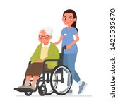 nurse carries a grandmother in... | Shutterstock .eps vector #1425535670
