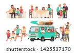 happy family is resting  eating ... | Shutterstock .eps vector #1425537170