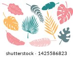collection tropical leaves. set ...   Shutterstock .eps vector #1425586823