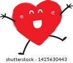 happy red heart emoji  vector | Shutterstock .eps vector #1425630443