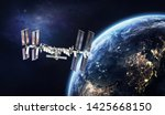 International space station on orbit of Earth planet view from outer space. ISS. Milky way. Elements of this image furnished by NASA