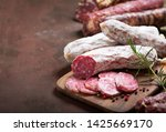 various kind types of salami ... | Shutterstock . vector #1425669170