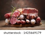 various kind types of salami ... | Shutterstock . vector #1425669179