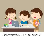 student with laptop... | Shutterstock .eps vector #1425758219