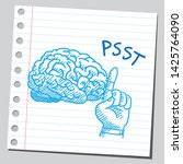 brain and hand making silence... | Shutterstock .eps vector #1425764090