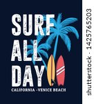 Surf All Day  Slogan Text With...