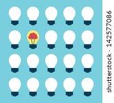 light bulb with brain pattern ...   Shutterstock .eps vector #142577086